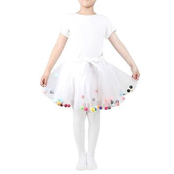 a7e9c69a0 TENDYCOCO Baby Girls Tutu Skirts Kids Elastic Waist Pettiskirt Girl  Princess Tulle Skirt Colorful Pompom Mini