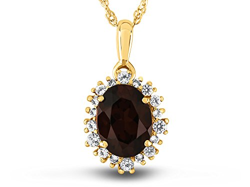 Finejewelers 10k Yellow Gold Oval Garnet with White Topaz accent stones Halo Pendant (Yellow Gold Garnet Pendant)