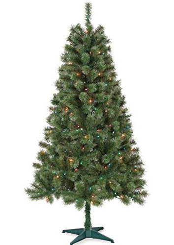 UNOMOR 6FT Artificial Christmas Tree with Multi-Color and Tree Star-Evergreen Pine Tree Christmas Tree For Office