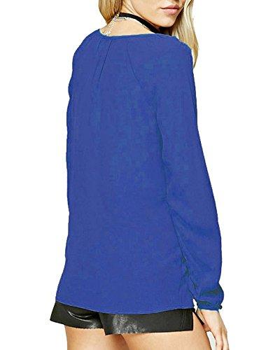 Blouse Femme Longue Saphir Bleu T V PengGeng Lache Manche Tops Shirt Col Chemisier ftwqxp8qd
