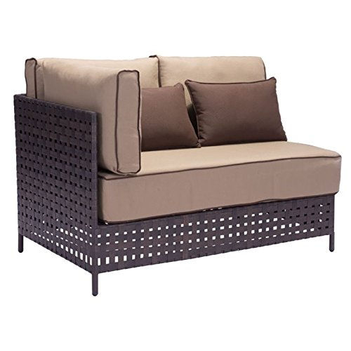 Brika Home Outdoor Sectional Right Loveseat in Brown and ...