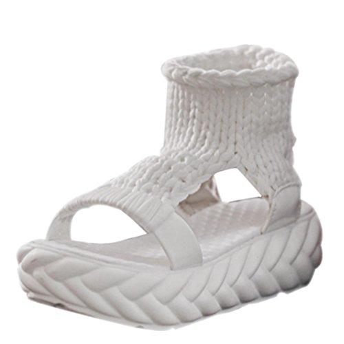 Digood Sandaler För Kvinnor, Damer Tonåring Flickor Stickade Övre Plattformen Tå Chunky Ensam Sandal Skor Vit