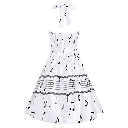 Di Nuca Musica Nota Oscillazione Modello Dolce Rockabilly Vestito Dal Donne Kingko Nastro Bianco Delle Alla Vestito tqxP4EYY
