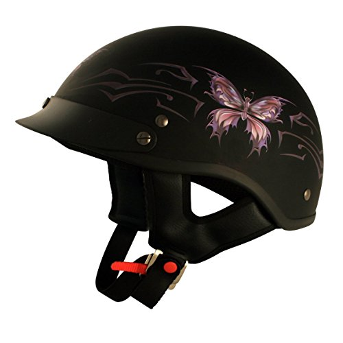 VCAN V531 Cruiser Intricate Butterfly Flat Black Small Half Helmet