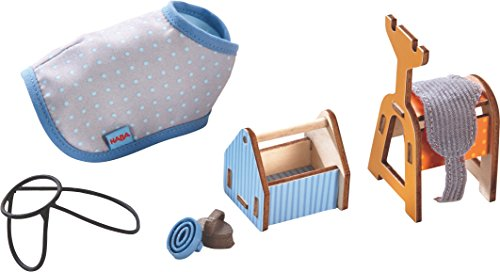 HABA Little Friends Riding Joy Playset with Saddle, Blanket, Bridle, Stand and Box with Brushes