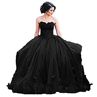 Women's Sweetheart Quinceanera Ball Gown Lace 3D Flower Prom Dress Black US 10