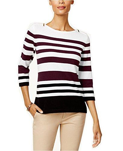 Karen Scott Women's Cotton Striped Zip-Shoulder Sweater (KS Merlot Combo, Medium) by Karen Scott