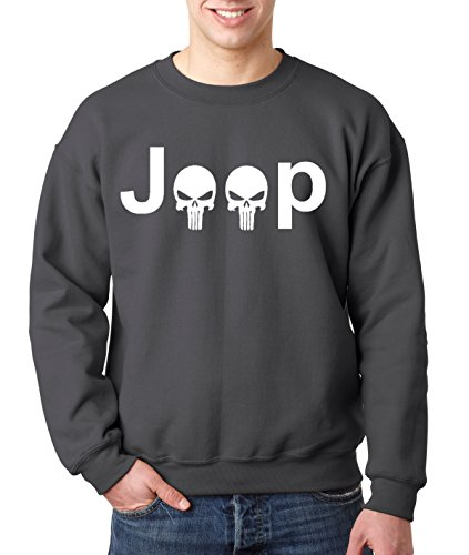 New Way 606 - Crewneck JEEP PUNISHER LOGO SKULLS Unisex Pullover Sweatshirt Large Charcoal