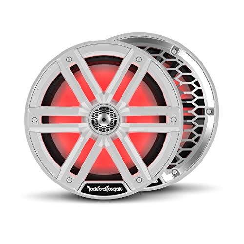 "Rockford Fosgate M2-8 Color Optix 8"" 2-Way Coaxial Multicolor LED Lighted Marine Speakers - White/Stainless (Pair)"
