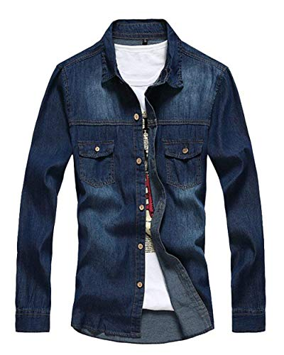 Semplice Jeans Stile Retro Con In Uomo Capispalla Cappotto Di Dunkelblau Lanceyy Risvolto Giacche Lunga Da Denim A Jeans Manica Bottoni Giacca 0qgwUF