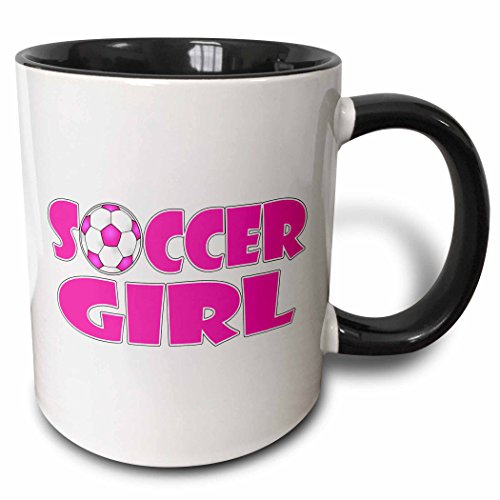 3dRose 181852_4 Soccer Girl Pink And White Two Tone Mug 11oz ()