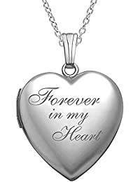 Forever in My Heart Locket Necklace Pendant in Sterling Silver - 3/4 Inch X 3/4 Inch - Includes 18 inch Cable Chain