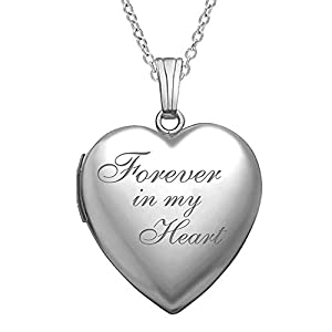 "- 416ZWzhPUSL - ""Forever in My Heart"" Locket Necklace That Holds Pictures in Sterling Silver – 3/4 Inch X 3/4 Inch – Includes 18 inch Cable Chain"