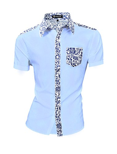 Allegra K Men Short Sleeves Floral Prints Button-Front Shirt Large Blue