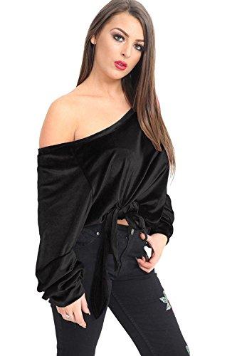 Off BLACK OFF Up SHOULDER VELVET Blouse T Loose Casual Women Tshirt Shoulder Top Baggy Tie 21FASHION T Velvet SHIRT Shirt HFZqEAnSn