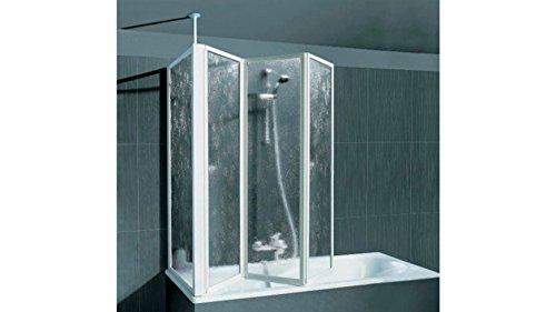 SCHULTE Badewannenaufsatz mit Teleskopstange und Seitenwand ohne Antikalk-Versiegelung, alunatur