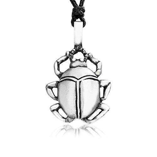 Namaste Jewelers Ancient Egyptian Scarab Beetle Amulet Pendant Necklace Pewter Jewelry