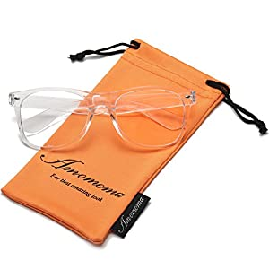 Amomoma Unisex Wayfarer Non-prescription Glasses Frame Clear Lens Eyeglasses AM5015 With Transparent Frame/Gold Temple