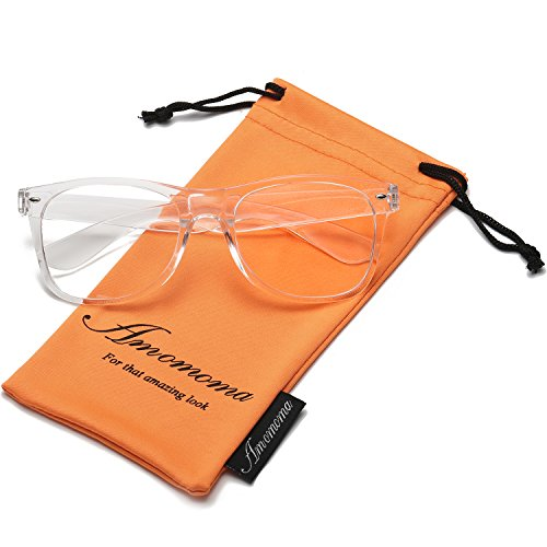 Amomoma Unisex Wayfarer Non-prescription Glasses Frame Clear Lens Eyeglasses AM5015 With Transparent Frame/Gold Temple (Plastic Frame Transparent)