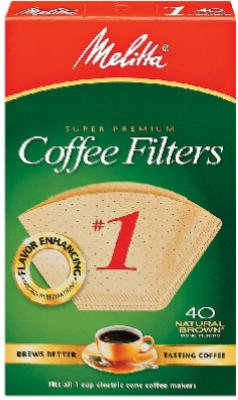Melitta Paper (Melitta Premium Coffee Filters 40ct Natural Brown No.1 Filters Case of 12)
