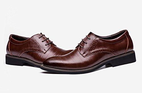 Zapatos Cordones Genuino LEDLFIE Zapatos De Multicolores De Cuero Cuero Consejos Negocios De Hombres Zapatos De Brown Hombre qfPTw7f