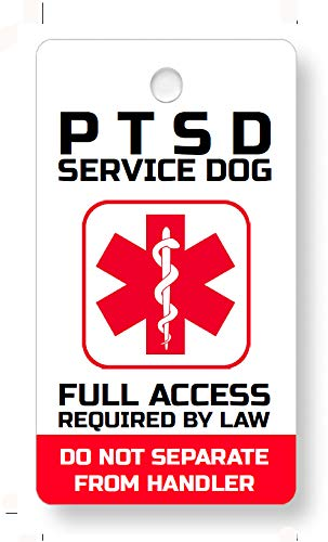 Just 4 Paws Service ESA PTSD, Therapy Dog Key & Collar Tag for ADA & FHact Service Animals -
