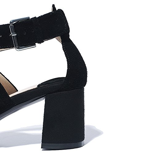 Womens Solid Black Kitten Open Heels Cow Leather Buckle AmoonyFashion Toe Sandals gB4nqZxnw
