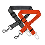 Zellar Dog Seat Belt, Adjustable Reflective Nylon Dog Cat Car Safety Seat Belt Lead with Elastic Bungee Buffer for All Cars,Pack of 2,Black/Orange