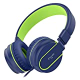Electronics : Elecder i36 Kids Headphones for Children, Girls, Boys, Teens, Adults, Foldable Adjustable Over Ear Headsets with 3.5mm Jack for iPad Cellphones Computer MP3/4 Kindle Airplane School Tablet(Blue/Green)