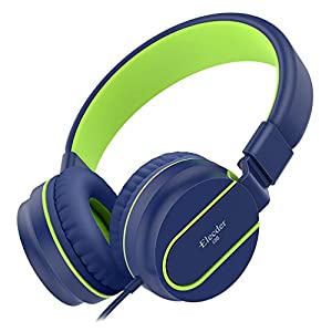 Elecder i36 Kids Headphones Children Girls Boys Teens Foldable Adjustable On Ear Headphones 3.5mm Jack Compatible iPad Cellphones Computer Kindle MP3/4 Airplane School Tablet Blue/Green