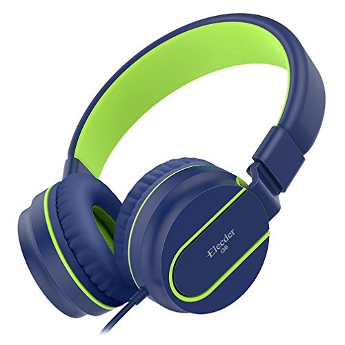 Elecder i36 Kids Headphones for Children, Girls, Boys, Teens, Adults, Foldable Adjustable Over Ear Headsets with 3.5mm Jack for iPad Cellphones Computer MP3/4 Kindle Airplane School Tablet(Blue/Green)