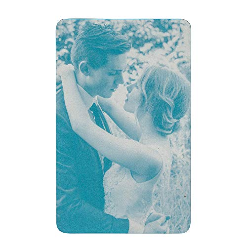 (Love You Forever Personalized Photo/Text Message Engrave Wallet Mini Insert Note Card Handmade To My Husband Wife - Blue )