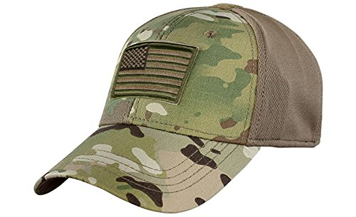 - Condor Fitted Tactical Cap Bundle (USA/DTOM Patches) - Multicam L/XL