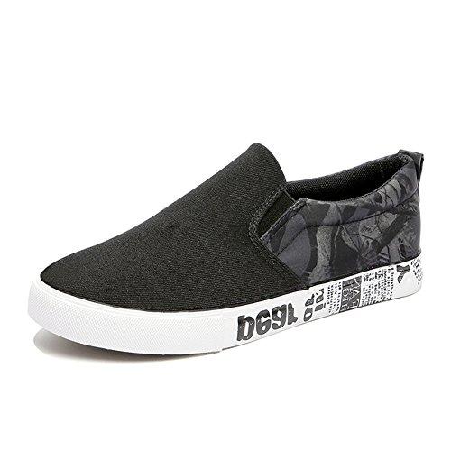 HUAN para deporte Mocasines cubierta de hombre estudiantes Zapatos de lona Alpargatas casuales Black Zapatos para Zapatos planos de Zapatillas HvxqfHr