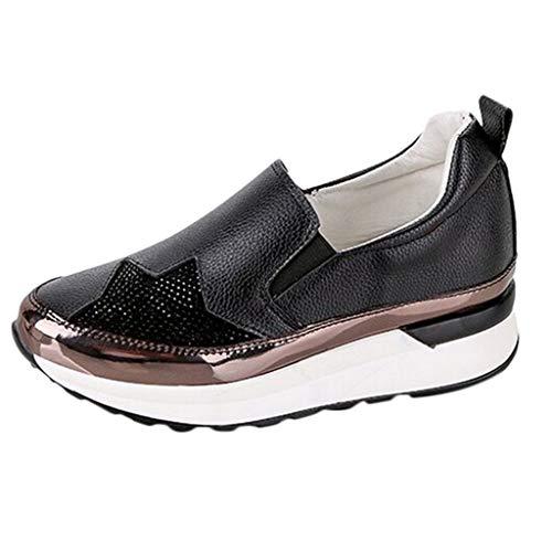 - Tanlo Women's Breathable Sneakers,Platform Wedges Shoes Casual Sports Shoes Ladies Comfort Single Shoes (Black, US:6)