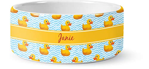 RNK Shops Rubber Duckie Ceramic Pet Bowl - Large (Personalized)
