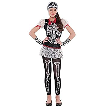 fc05fe0784d3a 12-14 Years - Teens Day of the Dead Sugar Skull Costume Girls Calavera  Sassy Floral Skeleton Halloween Fancy Dress Costume by Fancy Dress VIP:  Amazon.co.uk: ...