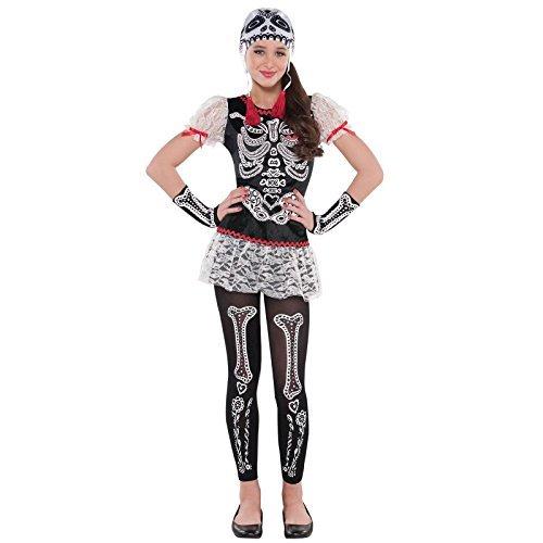 12-14 Years - Teens Day of the Dead Sugar Skull Costume Girls Calavera Sassy Floral Skeleton Halloween Fancy Dress Costume by Fancy Dress VIP