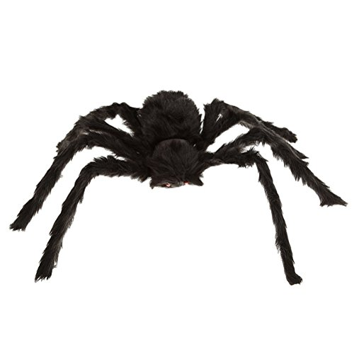 WINOMO Black Large Spider Halloween Decoration Haunted House Prop Plush Spider Scary Decoration - Spiders Halloween Decorations