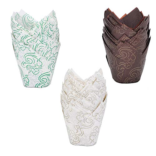 Tulip Cupcake Liners Baking Cup Paper, Wotwre Muffin Liner Wrappers for Weddings Birthday Party, 150 Pieces