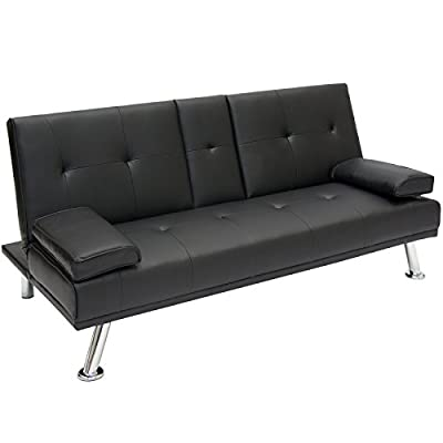 Best Choice Products Modern Faux Leather Convertible Futon Sofa Bed Recliner Couch w/Metal Legs, 2 Cup Holders