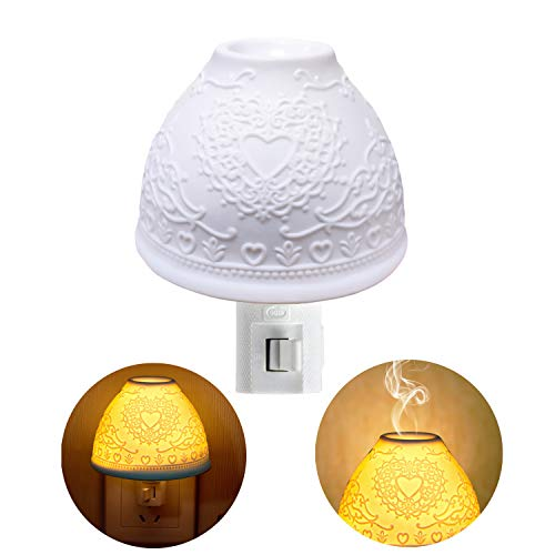 Night Lights Plug in, Kimfly Ceramic Art Night Light Wall Night Light with Essential Oil Aromatherapy Furnace and Incandescent Bulb, Suit for Bedroom, Living Room, Hallway (Heart 2(Gift-Set))