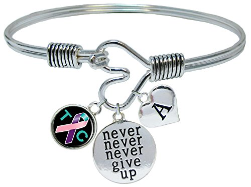 Custom Thyroid Cancer Awareness Never Give Up Bracelet Choose Initial (Bracelet Awareness Cancer Thyroid)