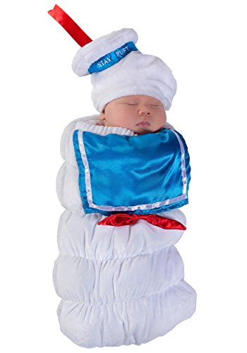 Stay Puft Marshmallow Infant Costume (Princess Paradise Baby Ghostbusters Stay Puft Swaddle Deluxe Costume, As Shown, 0/3M)