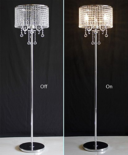 Hsyile Lighting KU300153 Elegant Designs Crystal Floor Lamp Chrome Finish,2 Lights - High Quality Raw Materials: Handpicked crystal,good light transmittance,throught a number of processes polished and refined. Size:13-Inch L x 13-Inch W x 59-Inch H (Need assembly and Easy to Install). 110V, 2 x 40Wattage Max, required E12 light bulb (bulb not included). Compatible with various types of E12 bulbs,such as incandescent,LED,CFL,halogen and Edison bulbs. ON/OFF switch located on cord,convenient to use. - living-room-decor, living-room, floor-lamps - 416ZbofPi2L -