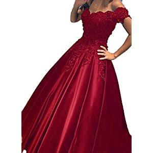656555efdb BessDress Prom Dresses 2018 Off The Shoulder Lace Evening Ball Gown BD282