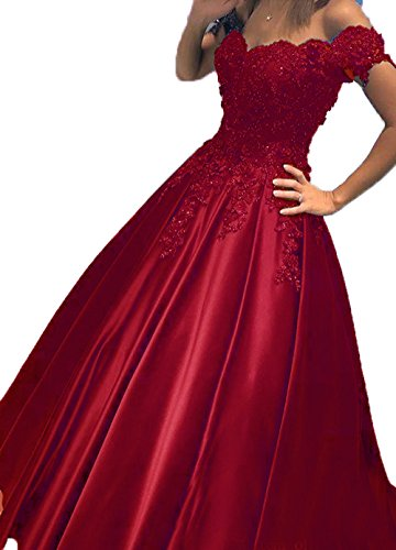 BessDress Prom Dresses 2018 Off The Shoulder Lace Evening Ball Gown BD282