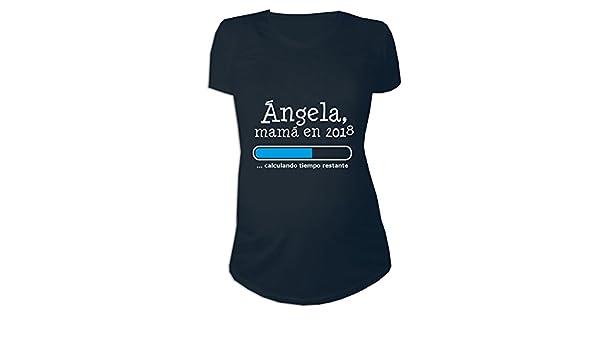Calledelregalo Regalo Personalizable para Mujeres Embarazadas: Camiseta Futura Mamá Personalizada con su Nombre y Año (Negro): Amazon.es: Ropa y ...