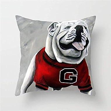 imouSde UGA Georgia Bulldogs Mascot Throw Pillow Covers 18 X 18 for Couch,Sofa,Farmhouse Decor