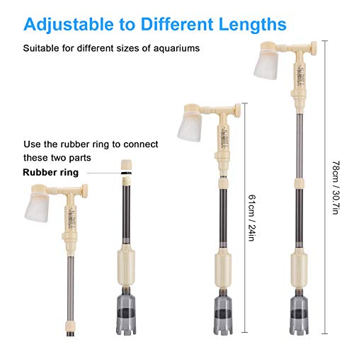bedee Aquarium Gravel Cleaner Electric Fish Tank Vacuum Cleaner, 4 in 1 Automatic Aquarium Siphon Filter Kit with Adjustable Water Flow Controller for Water Changing and Sand Washing, DC 12V, 18W
